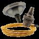 Small Antique Brass Ceiling Pendant Kit & B22 Lampholder with Gold Flex