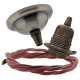 Small Antique Brass Ceiling Pendant Kit & E27 Lampholder with Dusky Pink Flex