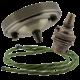 Large Antique Brass Ceiling Pendant Kit & B22 Lampholder with Green Flex