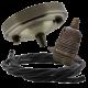 Large Antique Brass Ceiling Pendant Kit & E27 Lampholder with Black Flex
