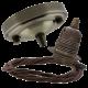 Large Antique Brass Ceiling Pendant Kit & E27 Lampholder with Mocha Brown Flex