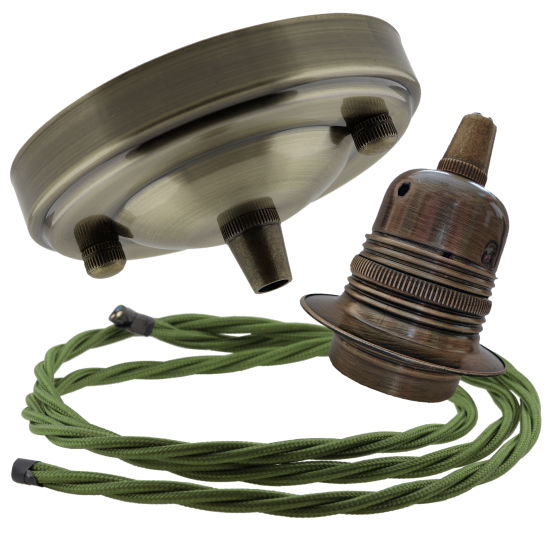 Large Antique Brass Ceiling Pendant Kit & E27 Lampholder with Green Flex