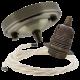 Large Antique Brass Ceiling Pendant Kit & E27 Lampholder with Classic Ivory Flex