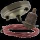 Large Antique Brass Ceiling Pendant Kit & E27 Lampholder with Dusky Pink Flex
