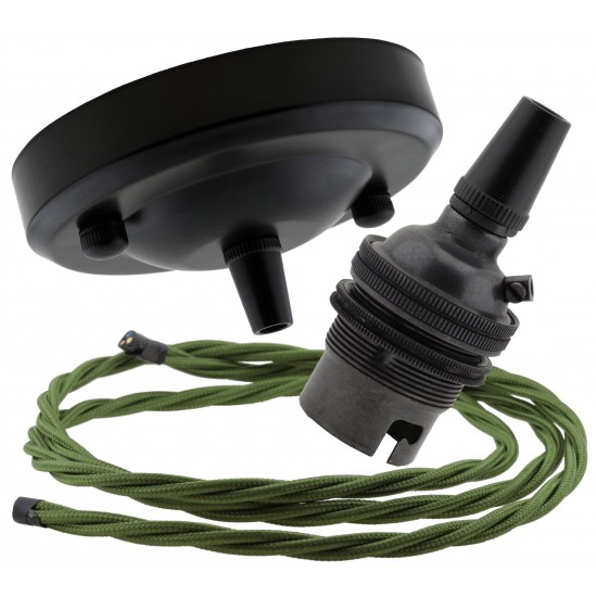 Ceiling Pendant Kit with Large Rose and B22 Lampholder in Matte Black Finish with Green Flex