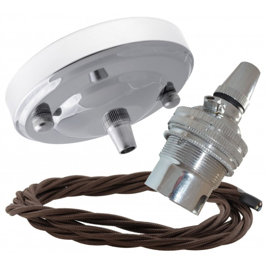 Ceiling Pendant Kit with Large Rose and B22 Lampholder in Silver Nickel Finish with Mocha Brown Flex