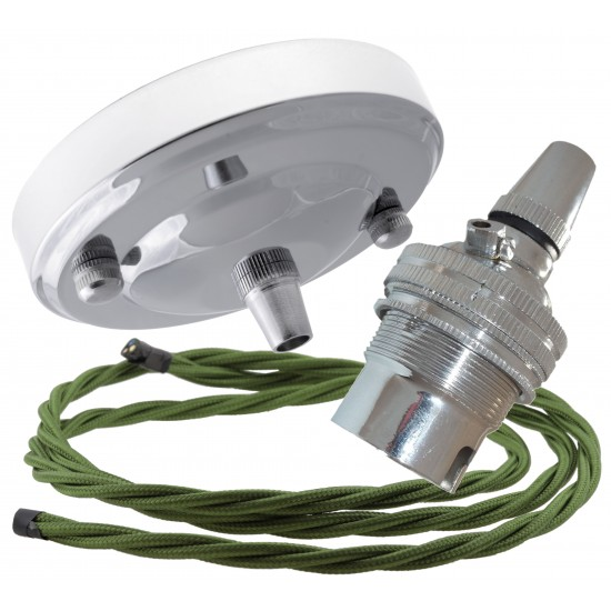 Ceiling Pendant Kit with Large Rose and B22 Lampholder in Silver Nickel Finish with Green Flex