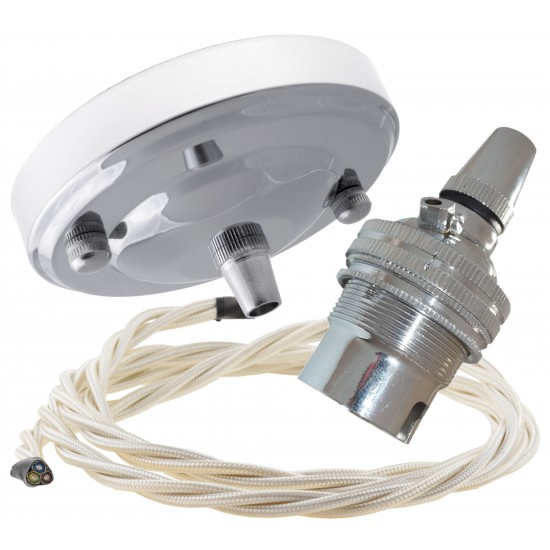Ceiling Pendant Kit with Large Rose and B22 Lampholder in Silver Nickel Finish with Classic Ivory Flex
