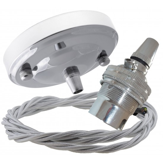 Ceiling Pendant Kit with Large Rose and B22 Lampholder in Silver Nickel Finish with Silver Grey Flex