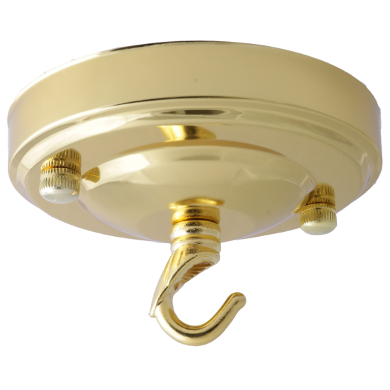 Large Ceiling Rose with Deco Style Hook in Polished Brass