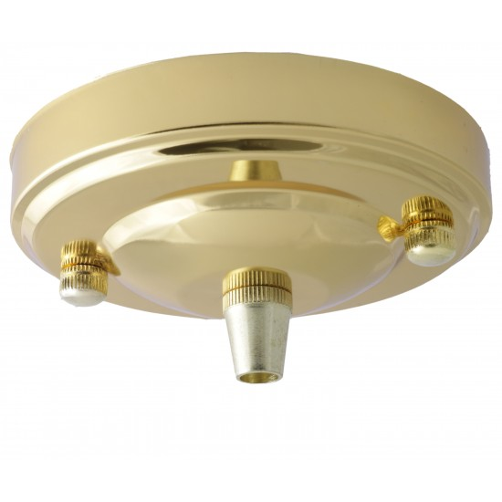 Large Brass Ceiling Pendant Kit & B22 Lampholder with Bright Red Flex
