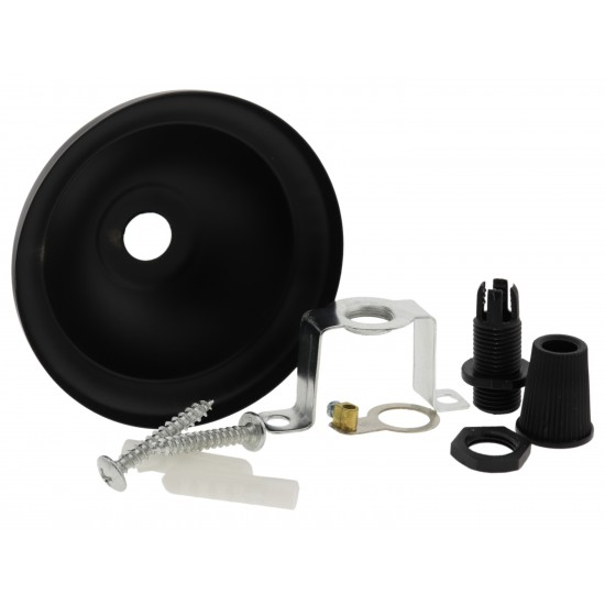 Small Ceiling Rose with Nylon Cord Grip in Matte Black Finish