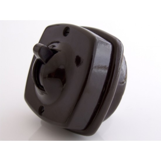 Britmac Vintage Bakelite Toggle Light Switch 1Way 1Gang Recessed In Brown